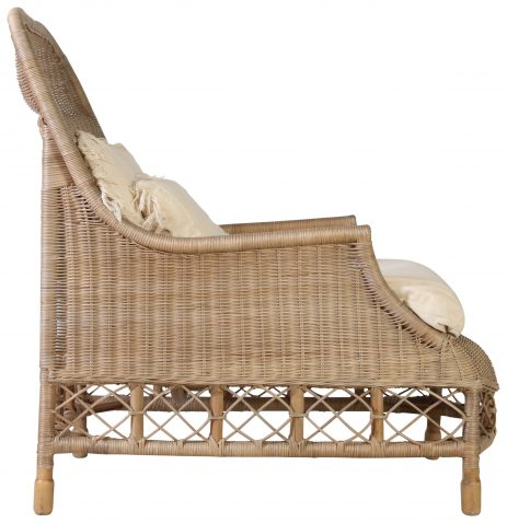 Block & Chisel empire rattan chair with wooden legs