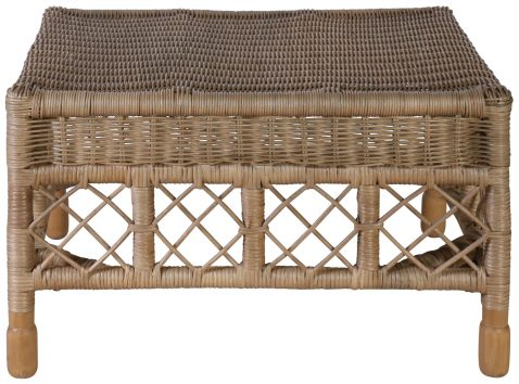 Block & Chisel empire rattan ottoman with wooden legs