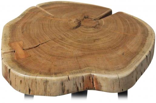Block & Chisel round acacia wood side table with matt black metal legs