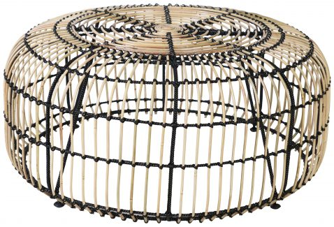 Block & Chisel round iron coffee table with rattan