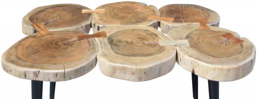Block & Chisel round acacia wood coffee table with matt black metal legs