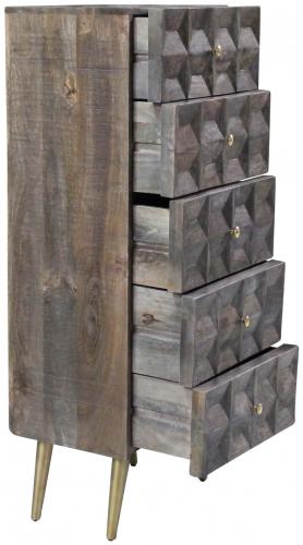 Block & Chisel mango wood tallboy with tapered metal legs