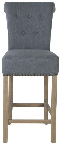 Block & Chisel grey upholstered barstool with oak wood legs