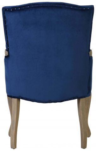 Block & Chisel blue velvet upholstered carver chair