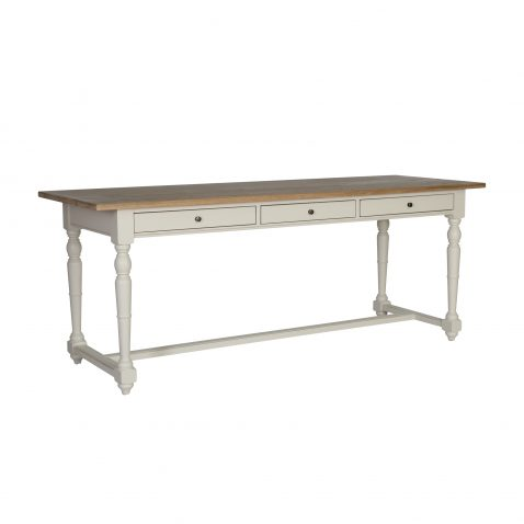white long writing table or desk with 3 drawers and wooden top in english country style, made in south africa