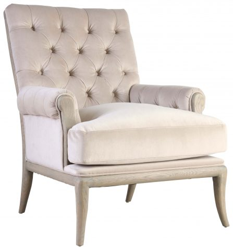 Block & Chisel silver velvet upholstered button tufted armchair
