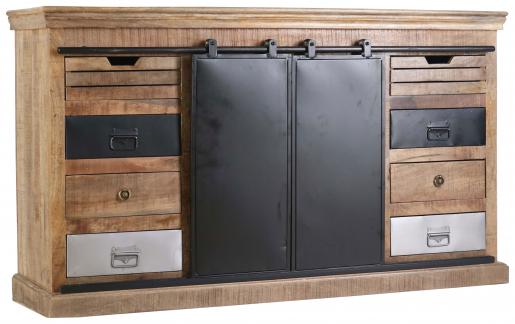 Block & Chisel mango wood sideboard with matt black iron doors