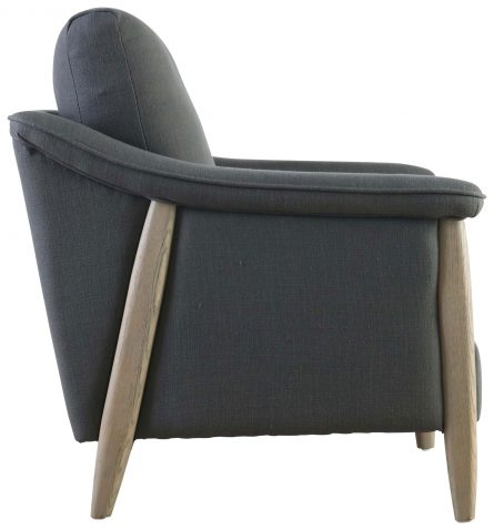 Block & Chisel charcoal upholstered occasional chair with oakwood legs