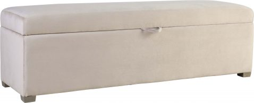 Block & Chisel soft beige velvet upholstered bedend