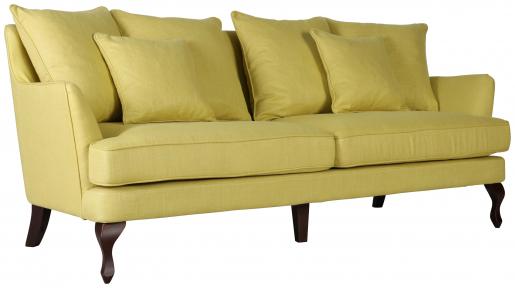 Block & Chisel yellow linen upholstered 3 seater sofa