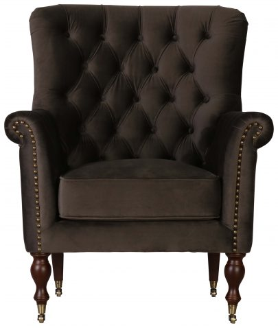 Block & Chisel rosewood upholstered occasional chair on castors