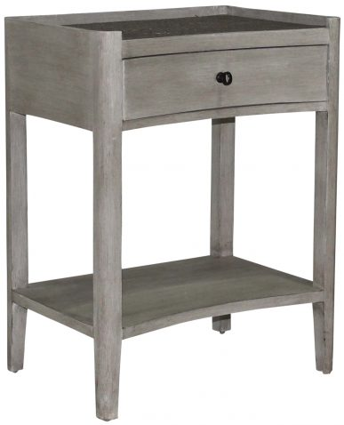 Block & Chisel wooden bedside table with wicker rattan top