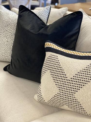 scatter cushion in black velvet