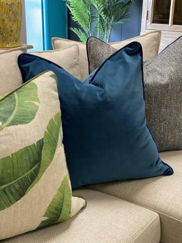 Blue velvet scatter cushion