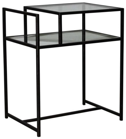 Block & Chisel side table with clear glass top and iron frame and base