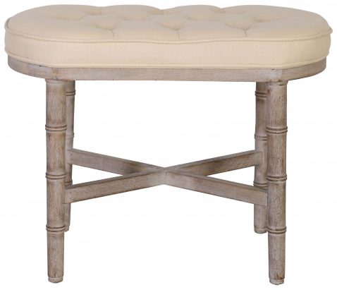 Block & Chisel cream linen upholstered bedend with rubber wood legs