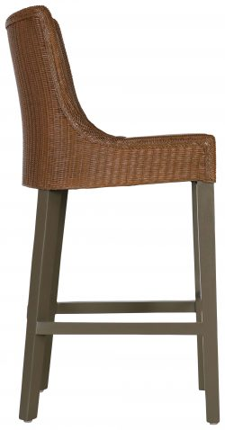 Block & Chisel lloyd loom wicker barstool with timber legs