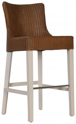 Block & Chisel lloyd loom barstool with timber legs