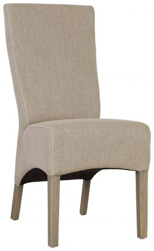Block & Chisel sand linen upholstered dining chair