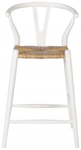 Block & Chisel white wishbone barstool with banana fibre seat