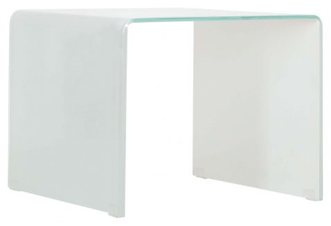 Block & Chisel square white tempered glass side table