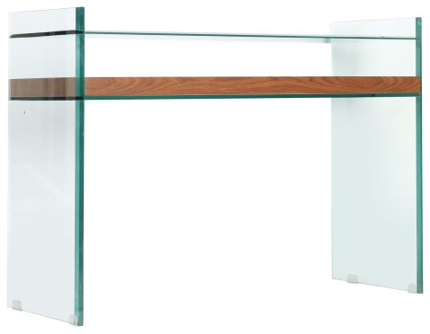 Block & Chisel rectangular glass console table with MDF and paper