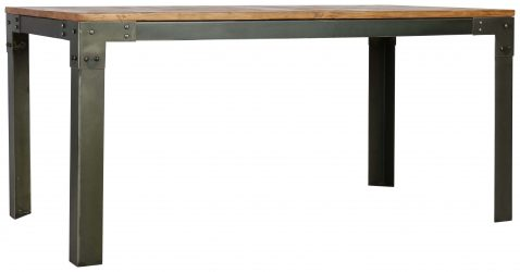 Block & Chisel rectangular recycled pine dining table with iron base