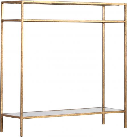 Block & Chisel rectangular iron console table with glass shelves