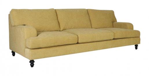 Block & Chisel yellow linen 2 seater sofa