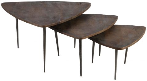 Block & Chisel wooden nesting tables with pointed iron legs
