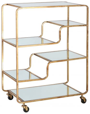 Block & Chisel drinks trolley with mirrored shelves