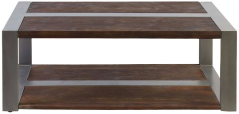 Block & Chisel rectangular wooden coffee table with iron detail