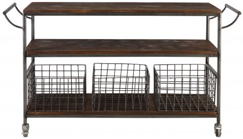 Block & Chisel rectangular cabinet with iron frame and wooden shelves