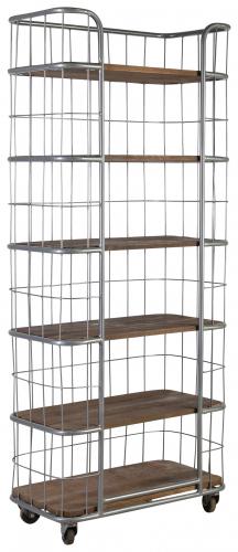 Block & Chisel bookshelf with metal frame and wooden shelves on castors