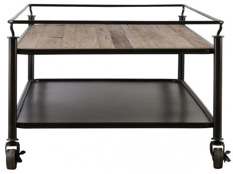 Block & Chisel old elm coffee table with metal detail and castors