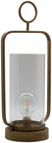 Block & Chisel metal lantern with antique gold finish