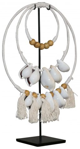 Block & Chisel circular shell ornament on metal stand