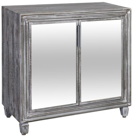 Block & Chisel distressed wooden bedside table with mirrored doors