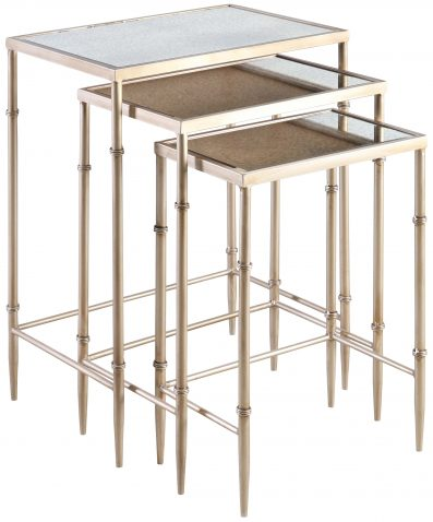 Block & Chisel rectangular iron nesting side tables with mirrored tops