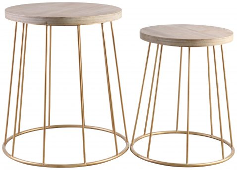 Block & Chisel round side table set with iron base