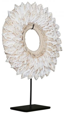 Block & Chisel shell necklace deco on metal stand