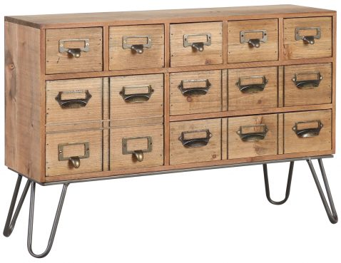 Block & Chisel fir wood mini desk cabinet with pointed iron legs
