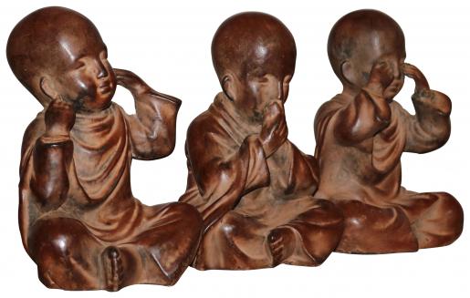 Block & Chisel set of 3 resin buddah statue