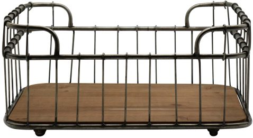 Block & Chisel iron basket with fir wood base