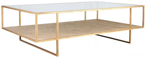 Block & Chisel rectangular coffee table with glass top