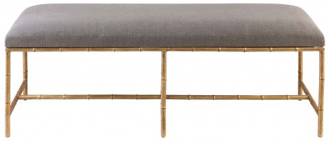 Block & Chisel rectangular grey upholstered bedend with iron legs