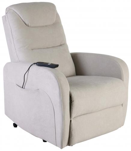 Block & Chisel beige velvet upholstered recliner