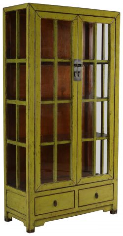 Block & Chisel green wooden cabinet with glass doors