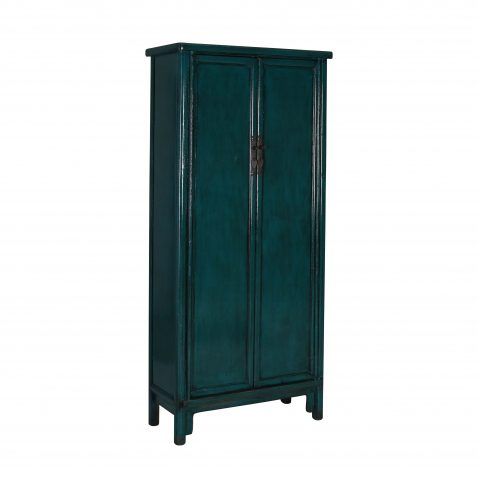 Distressed teal painted chinese cupboard