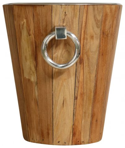 Block & Chisel teak wood wine cooler with nickel hardware